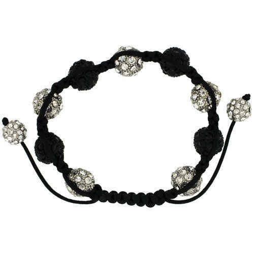 White & Black Crystal Disco Ball Adjustable Unisex Macrame Bead Bracelet 1/2 in. (12.5mm) wide Sabrina Silver. $29.00. Save 52% Off!