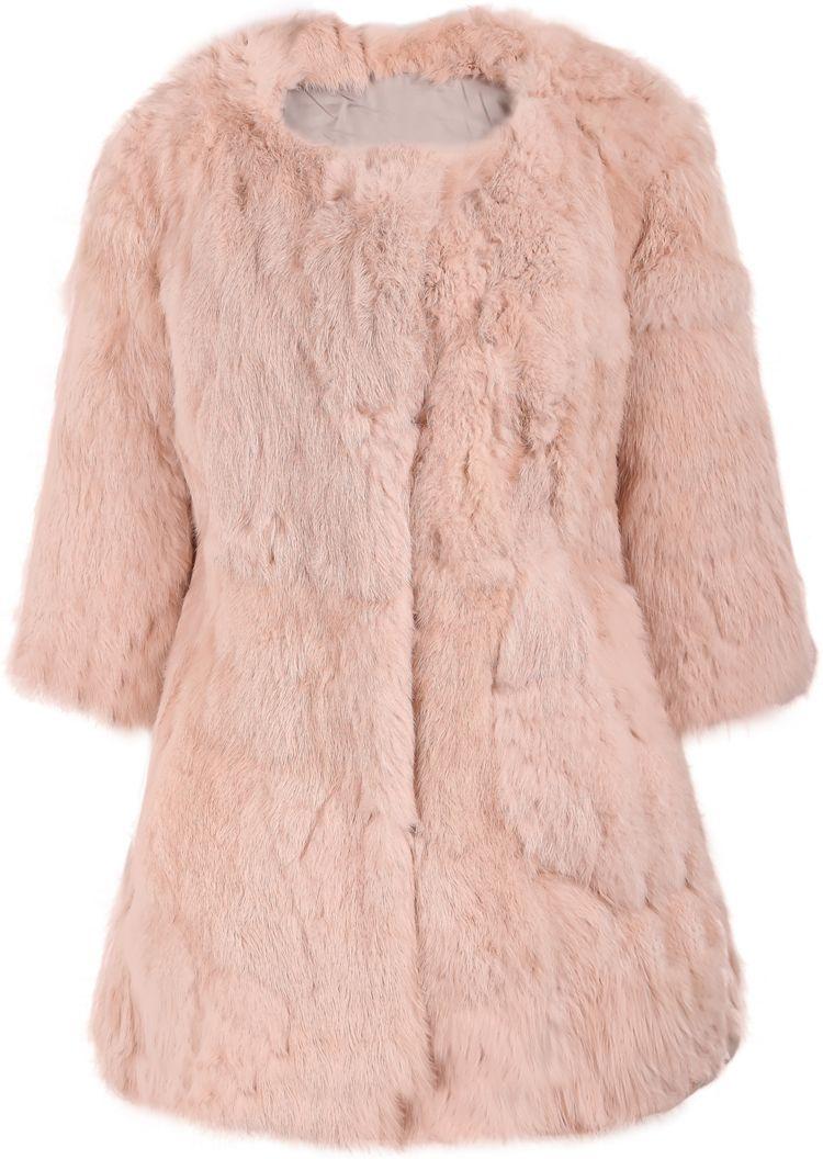 c0c99239e818 Shop Pink Round Neck Faux Fur Long Coat online. SheIn offers Pink ...