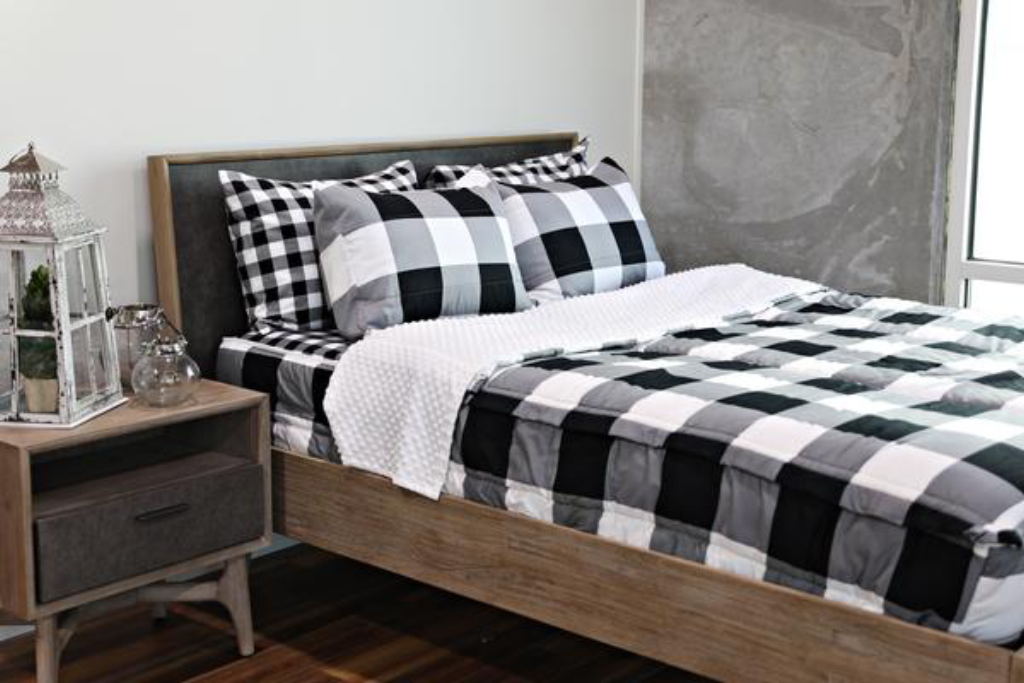 Checked Out (Minky) For RVs Zip up bedding, White