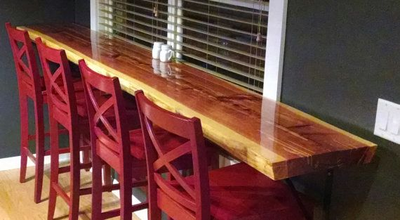 Rustic 8 Ft. Handmade Glazed Wood Slab Bar Top/Table Top