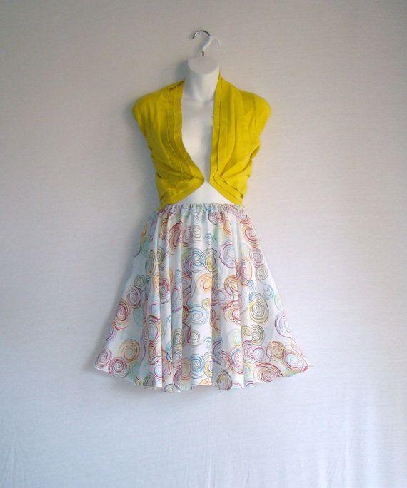 White Dream Swirls Summer Rayon Challis Circle Skirt