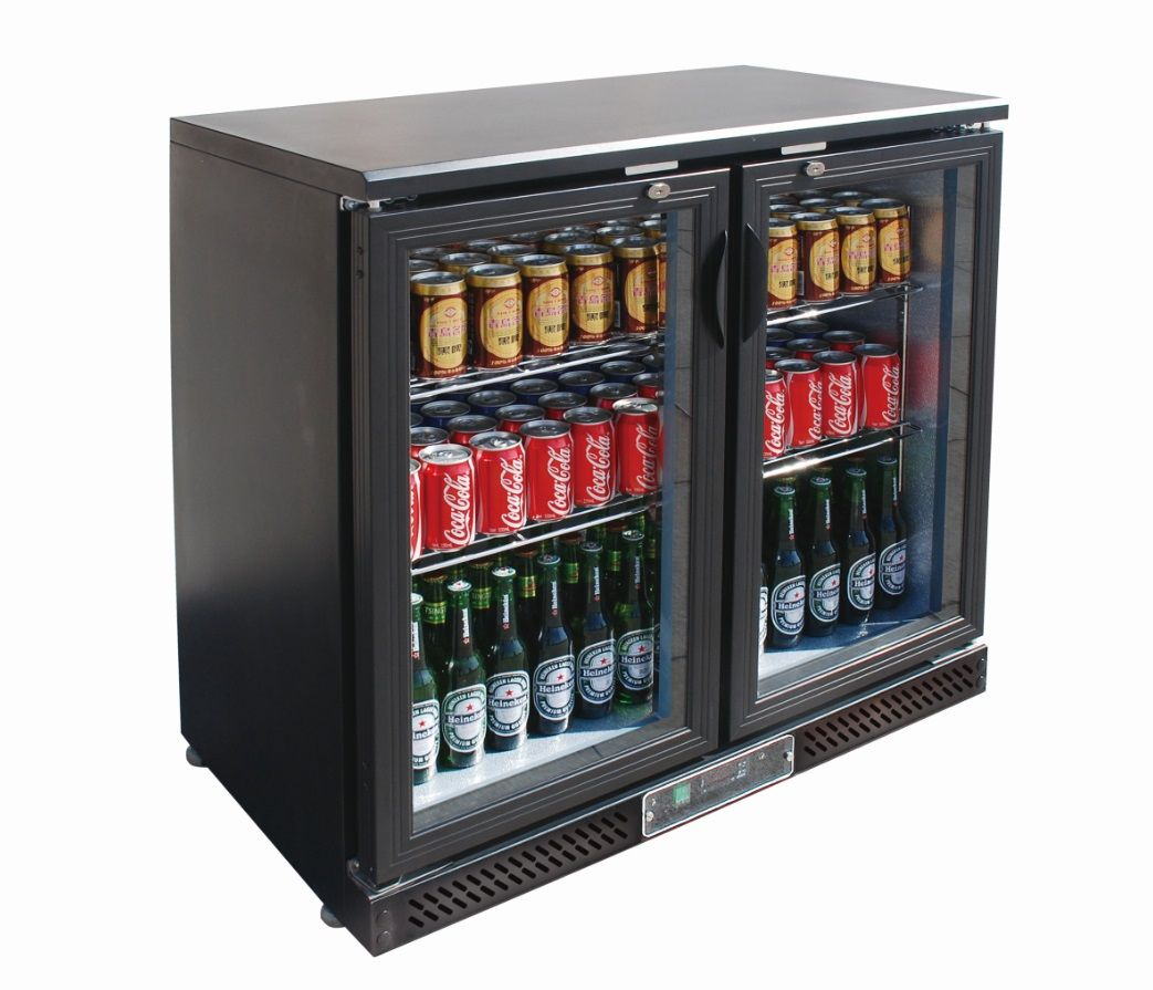 Commercial Bar Fridges Black Magic Bar Cooler Two Door Drink Coole Double Sliding Doors Bar Fridges Stainless Steel Shelving