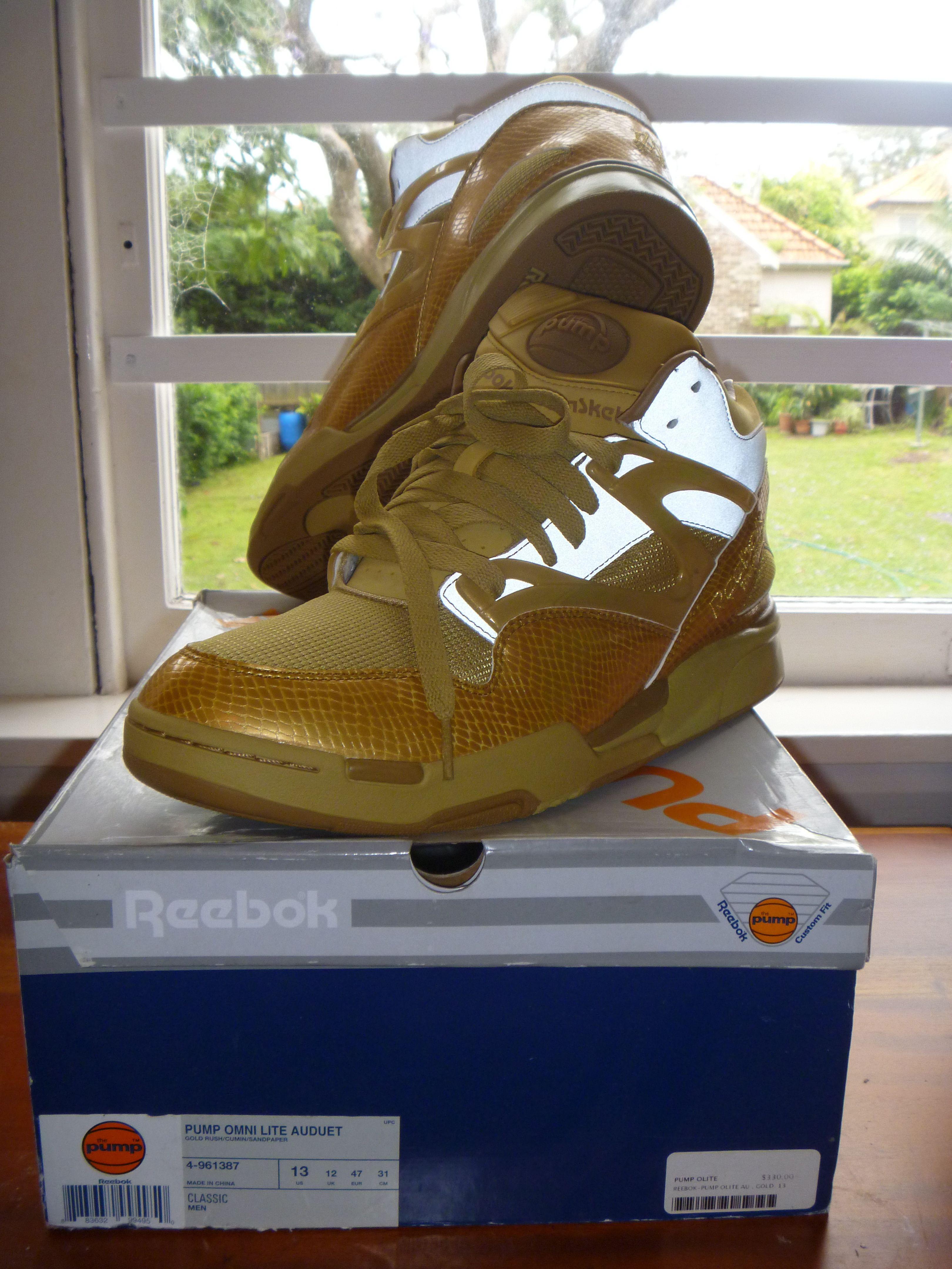 Reebok Pumps Size 13 - Gold 3M - $50
