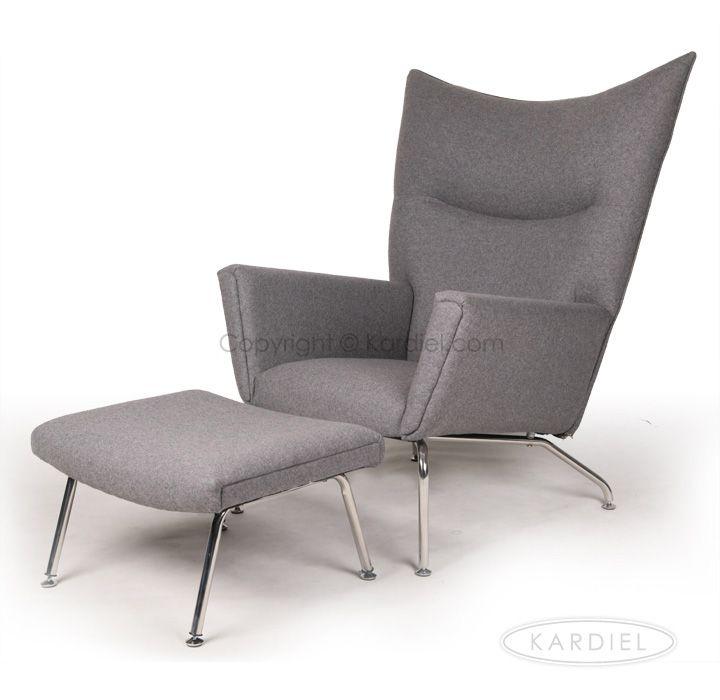 hans j wegner style wing chair ottoman cadet grey tweed cashmere