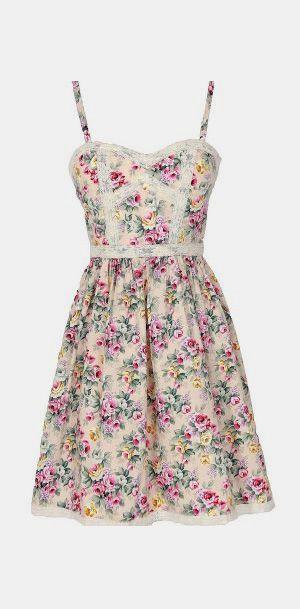 Cottage Rose Lace Trim Floral Designer Dress