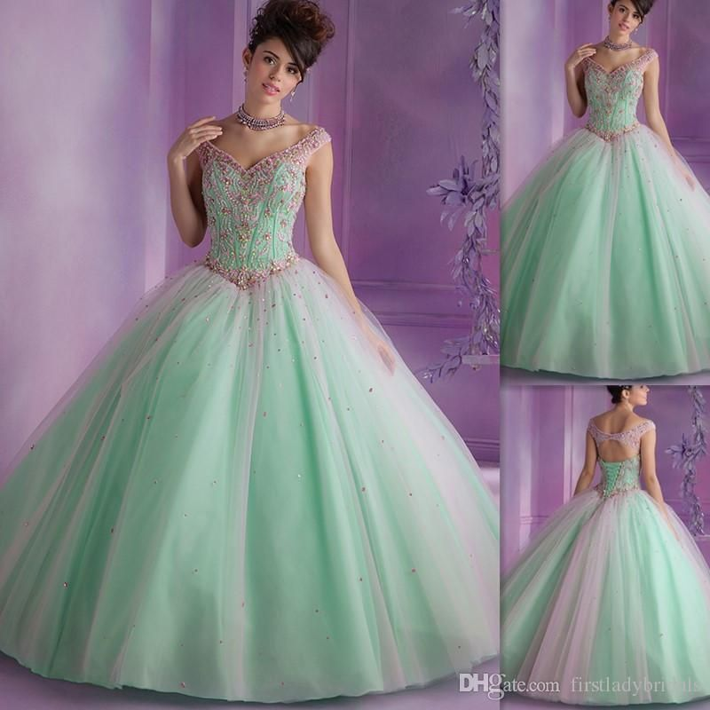 0dda579cf115 Quinceanera Dresses 2016 Mint Green Off The Shoulder Open Back Lace Up  Sweet 16 Gowns Ball Gown Pink Beaded Tulle 15 Birthday Dress Red Carpet  Dresses ...
