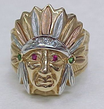 Gents Ring Native American Indian 14k Gold Ruby Accent Mens Vintage Jewelry Gents Ring American Ring