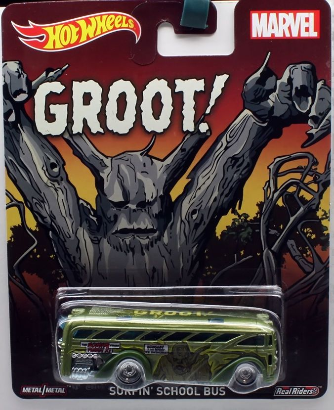 1:64 2015 Hot Wheels Pop Culture Marvel Surfin' School Bus - GROOT #HotWheels #Surfin