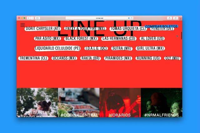 Preview de funcionamiento de la web de Nrmal 2017