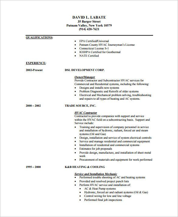 hvac resume template free samples examples format download lawyer - hvac resume template