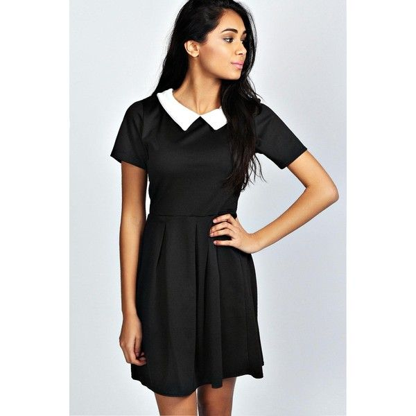 Boohoo Felicity Contrast Collar Skater Dress 26 Liked On