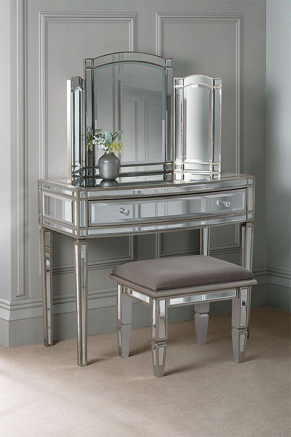 Mirrored Bedside Table With Drawers: Antoinette Toughened Mirror One Drawer Console Table In