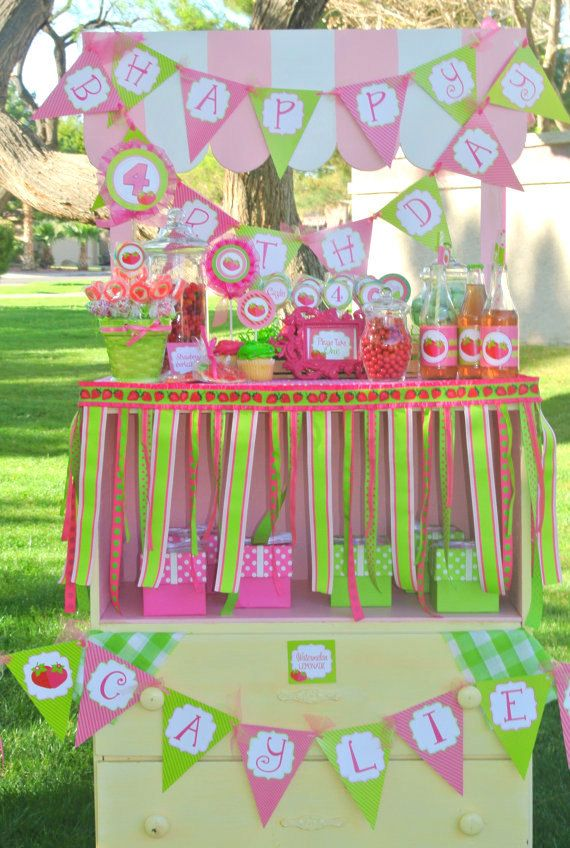STRAWBERRY SHORTCAKE RIBBON Garland Girl Birthday Party Little