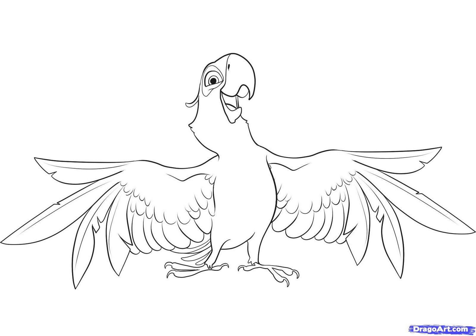 Blu The Blue Macaw From Rio Coloring Page Bird Coloring