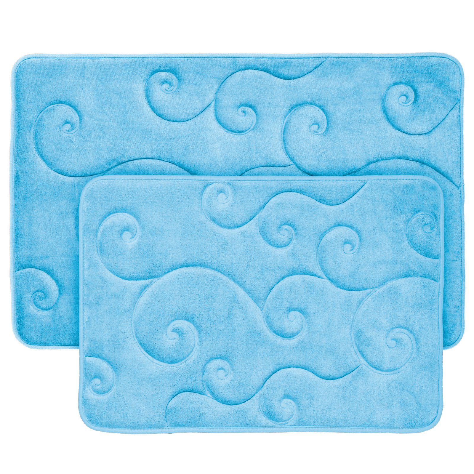 Lavish Home Memory Foam Bath Mat Set Set Of 2 Blue Memory Foam