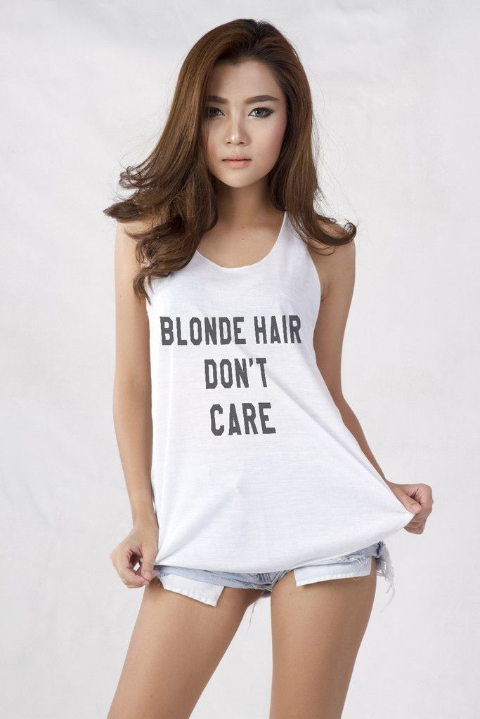Blonde Hair Don't Care Tank Top T-Shirt for Teen Teenage ...