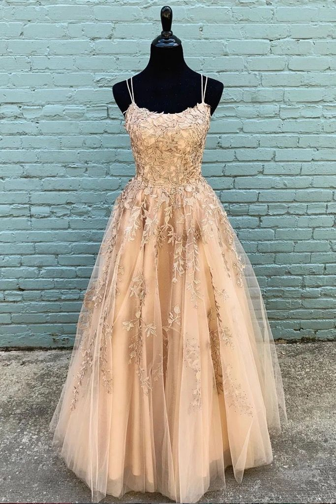 Photo of Stylish Champagne Tulle Custom Made Long Senior Prom Dress, …