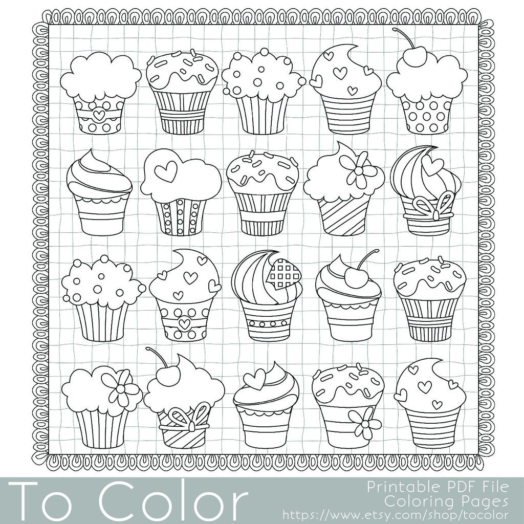Cupcake Coloring Page for Grown Ups Instant Download Coloring