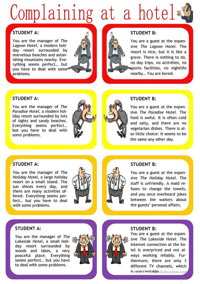 Complaining At A Hotel Role Play English Esl Worksheets Speaking Activities English Speaking Activities Esl Speaking Activities