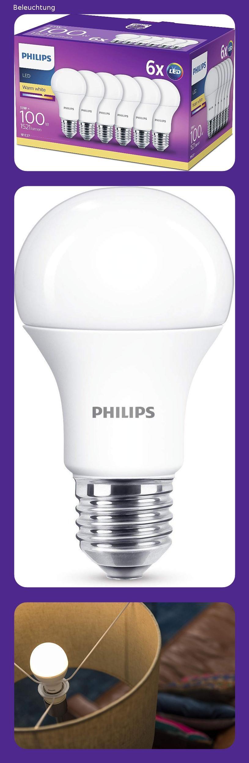 Philips 8718696577035 Eek A Led Lampe 13w Ersetzt 100w E27 Warmweiss 2700 Kelvin 6 Er Pack Energieklasse A In 2020 Led Lampe Led Lampen