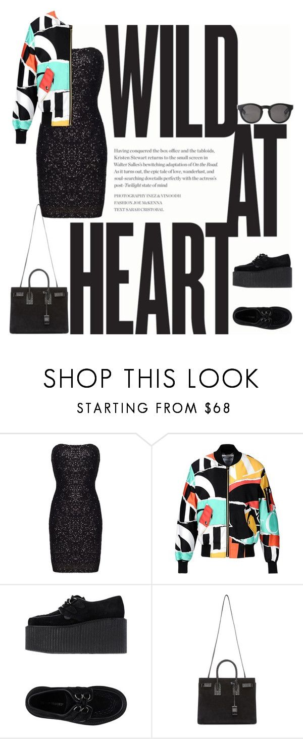 """""""--------"""" by chesta-nagar ❤ liked on Polyvore featuring Moschino, Underground, Yves Saint Laurent and Monki"""
