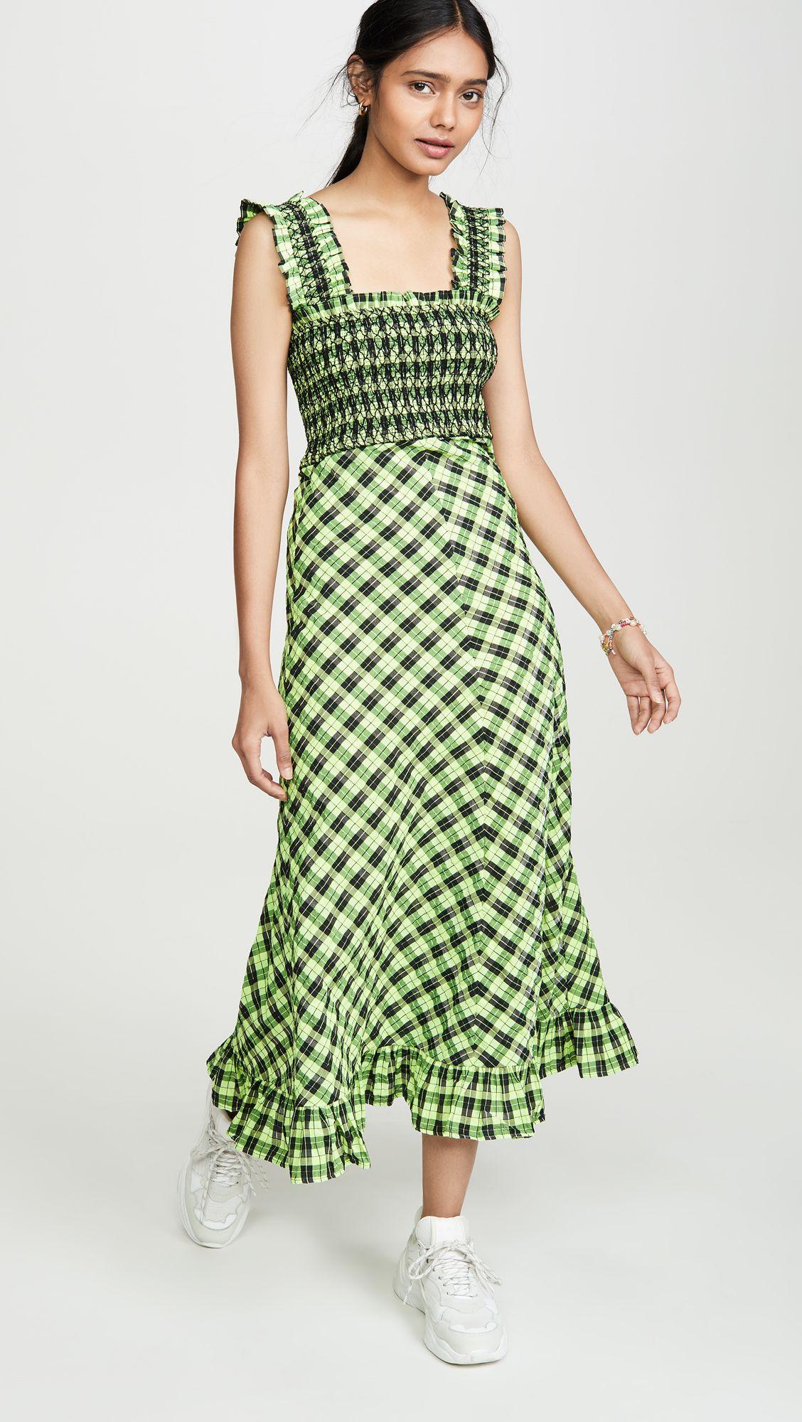 Ganni Seersucker Check Maxi Dress Ganni Dress Leopard Print