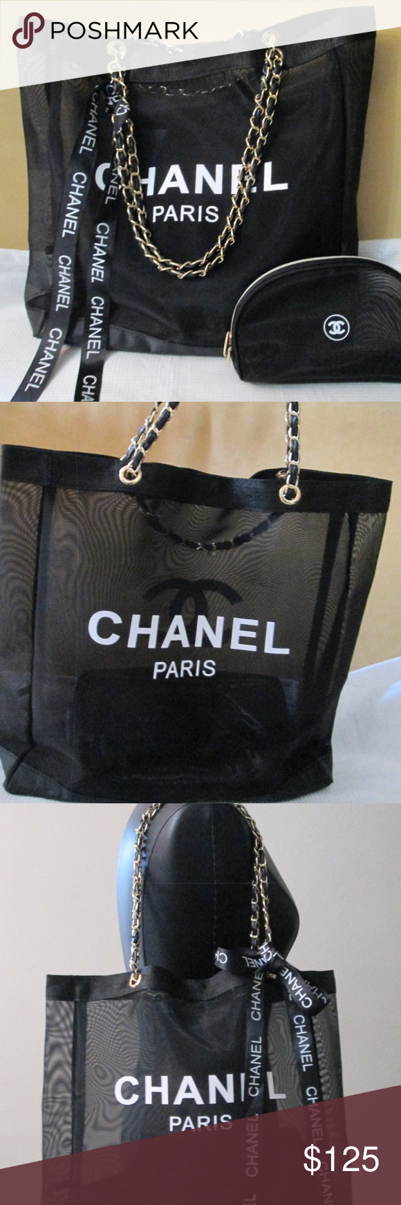 4888afede80e Chanel VIP Mesh Tote and Makeup Bag Gift Set MESH has CHANEL PARIS print in  the