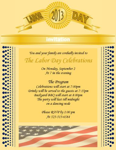 Golden Theme Formal Invitation Labor Day Flyer Template Marketing