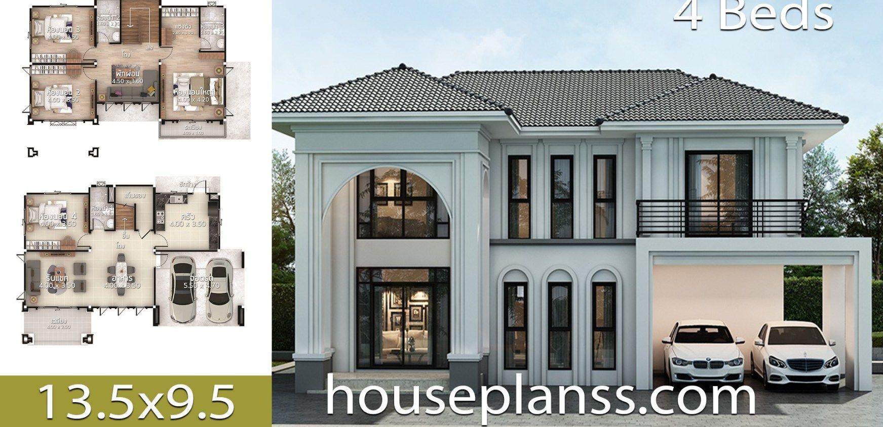 House Plans Design Idea 13 5x9 5 With 4 Bedrooms Home Building Design Bungalow House Design Village House Design