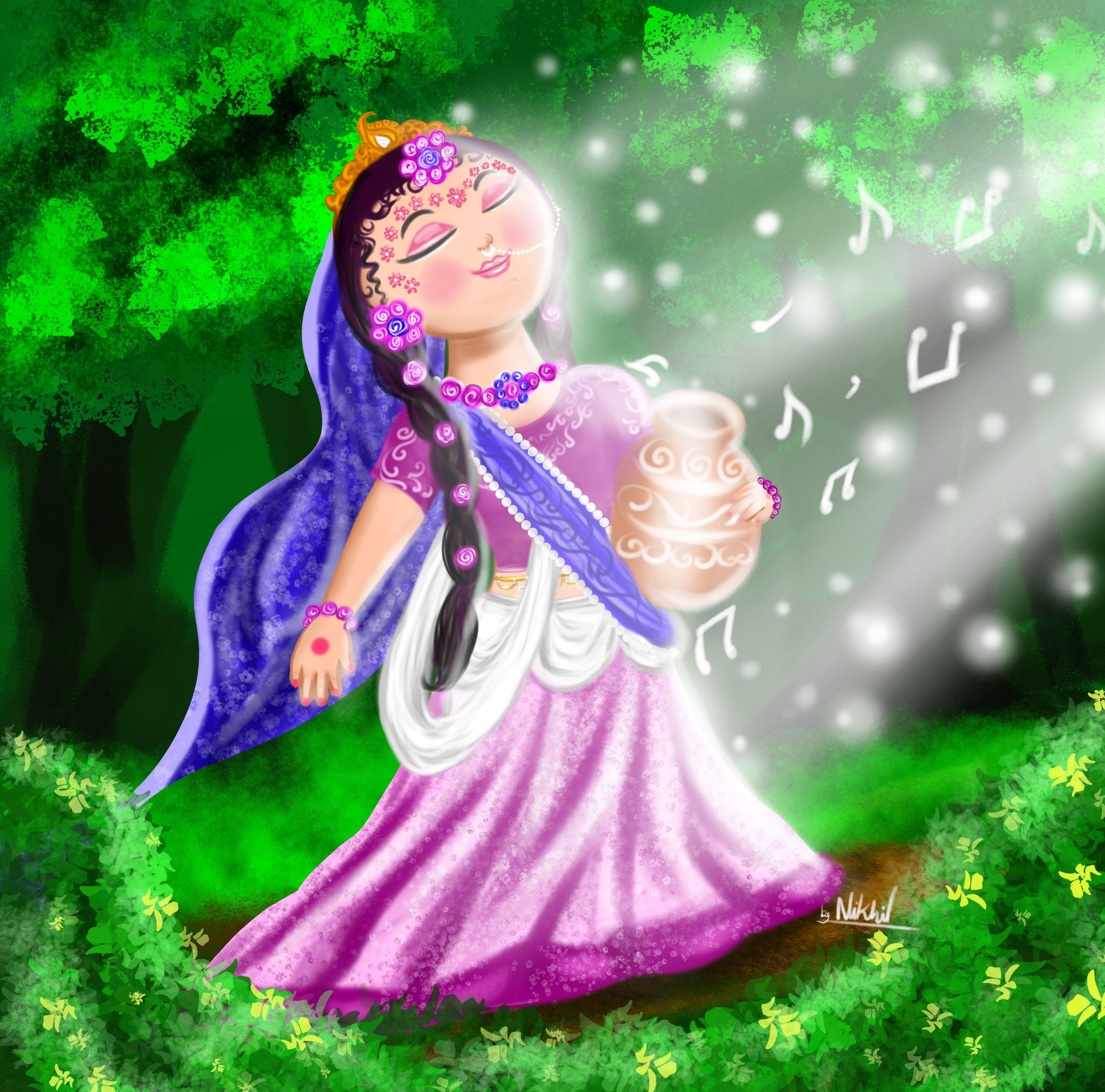 Cute Radha Rani Cartoon Art Radha Rani Cute Krishna Radha Krishna Art