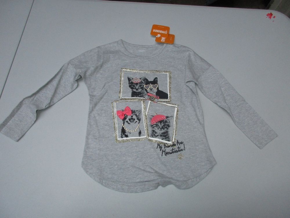 ad0a92deae0 Gymboree My Friends Are Meowtastic Kitty Cat Girls Long Sleeve Shirt Size 4  NWT  fashion