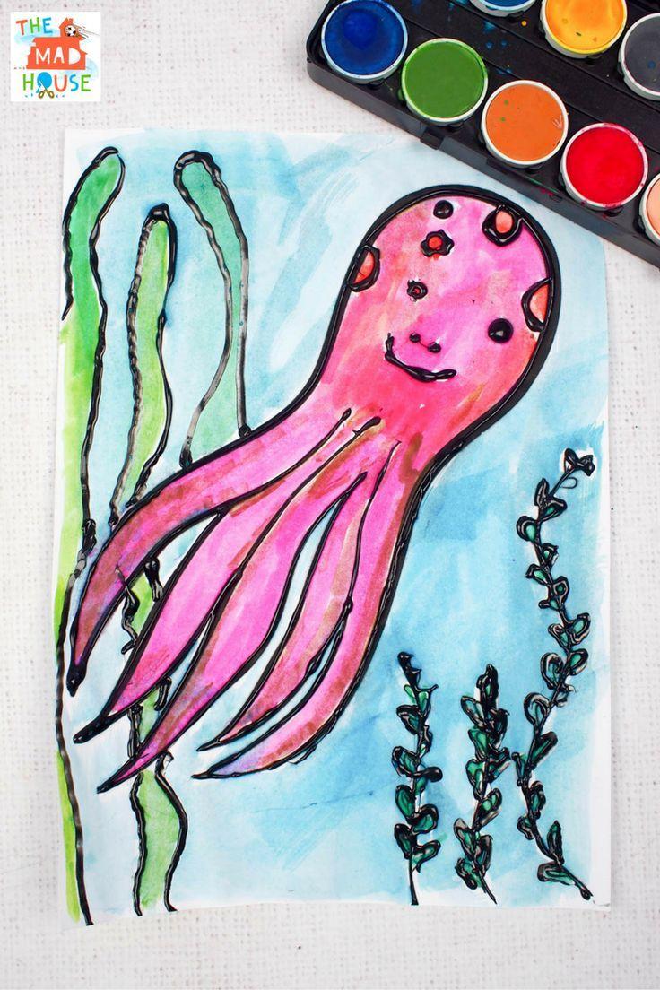 octopus watercolour glue resist art ocean crafts watercolor and