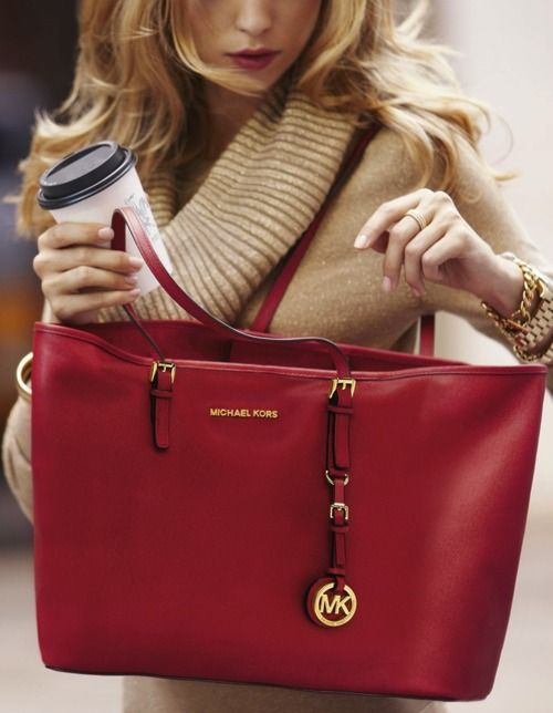1500455046c1 Perfect work bag and outfit. This might be the Large Bedford Dressy Tote,  Red from Michael Kors or the Saffiano large Travel Tote