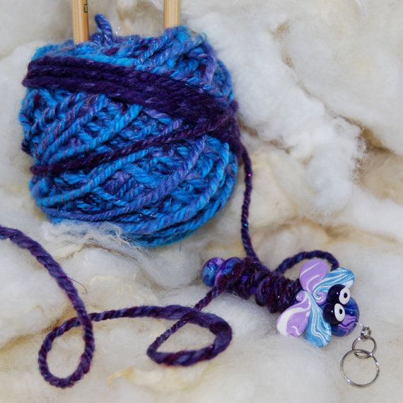 Dragonfly WPI Gauge  Wraps per inch tool for by TheClaySheep (Craft Supplies & Tools, Fiber & Textile Art Supplies, Spinning, Tools, WPI, tool, gauge, spinning, dragonfly, purple, blue, knitting, crochet, polymer clay, handspun, gifts, spinning wheel)
