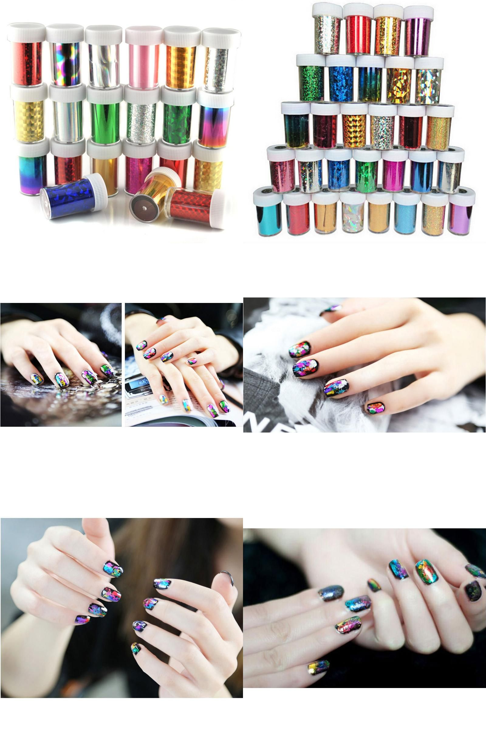 Visit to Buy] 1 Pc 31 Colors Nail Transfer Foils DIY Foil Polish ...