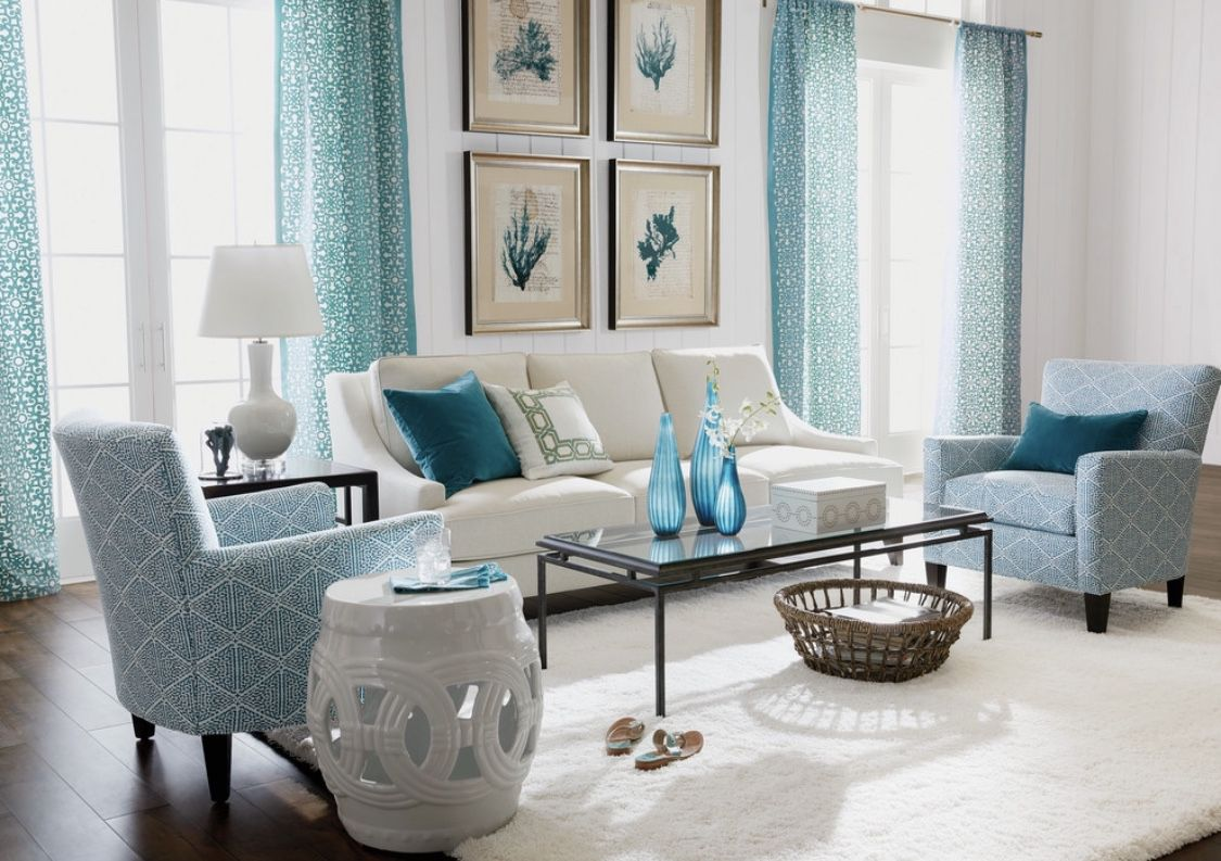 Gorgeous Teal And White Living Room Decor Teal Living Rooms Teal Living Room Decor Cottage Style Living Room #teal #grey #living #room