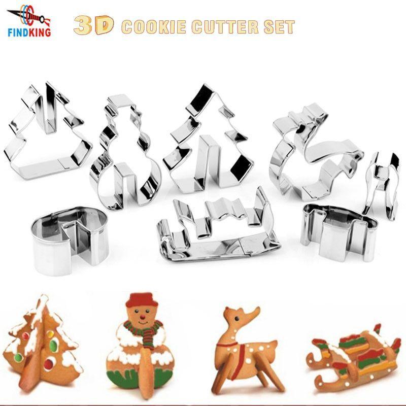FINDKING DIY 3D Stainless Steel CHRISTMAS Scenario Cookie Cutter Set