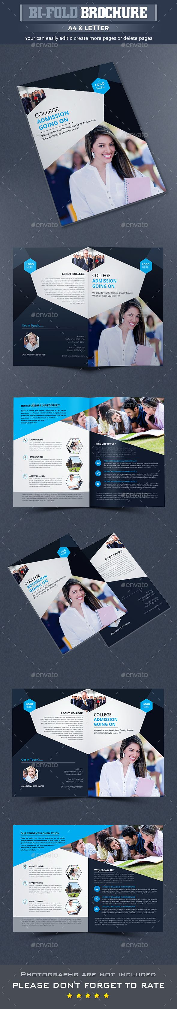 College University Bi-fold Brochure Template InDesign INDD ...