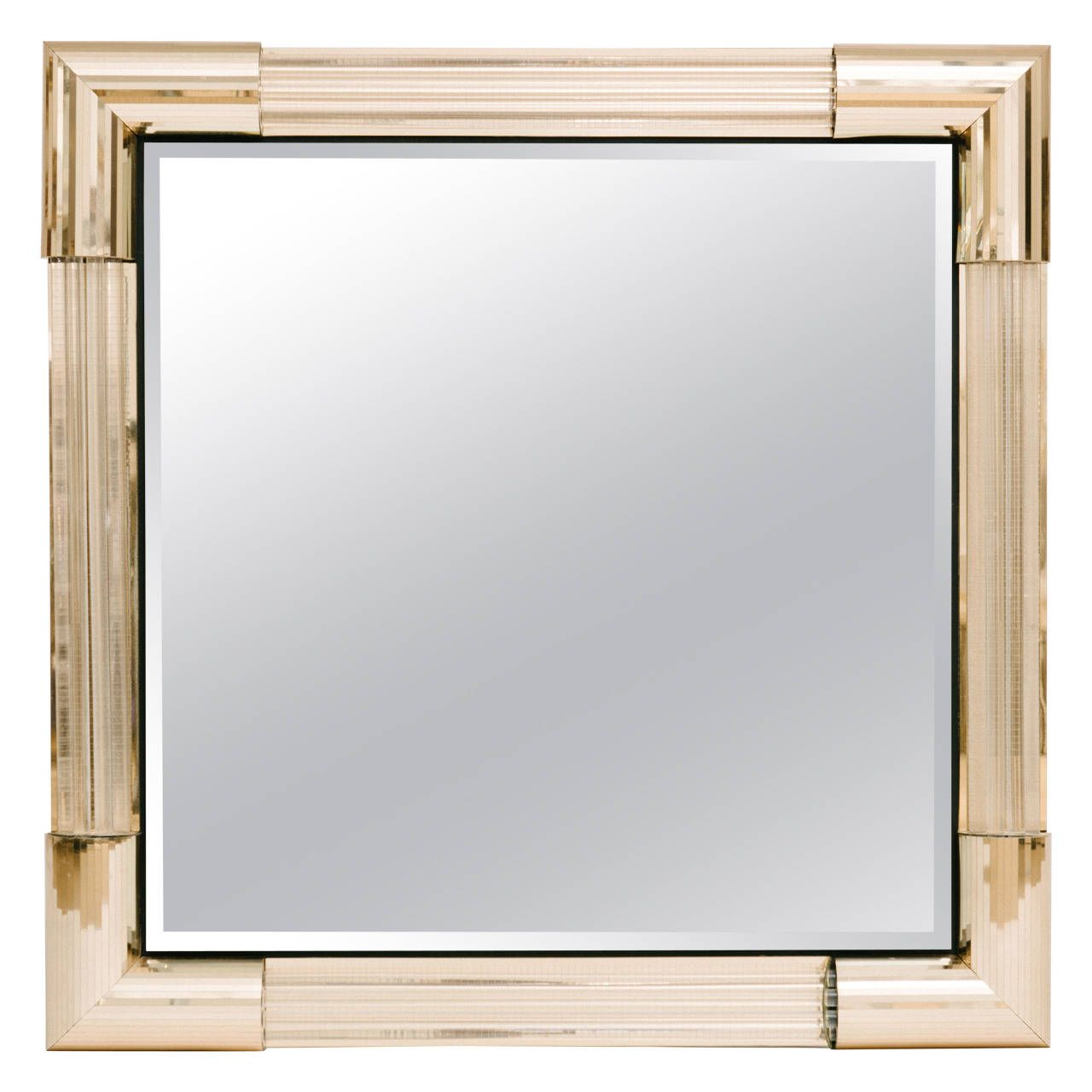 S Brass And Acrylic Rod Mirror