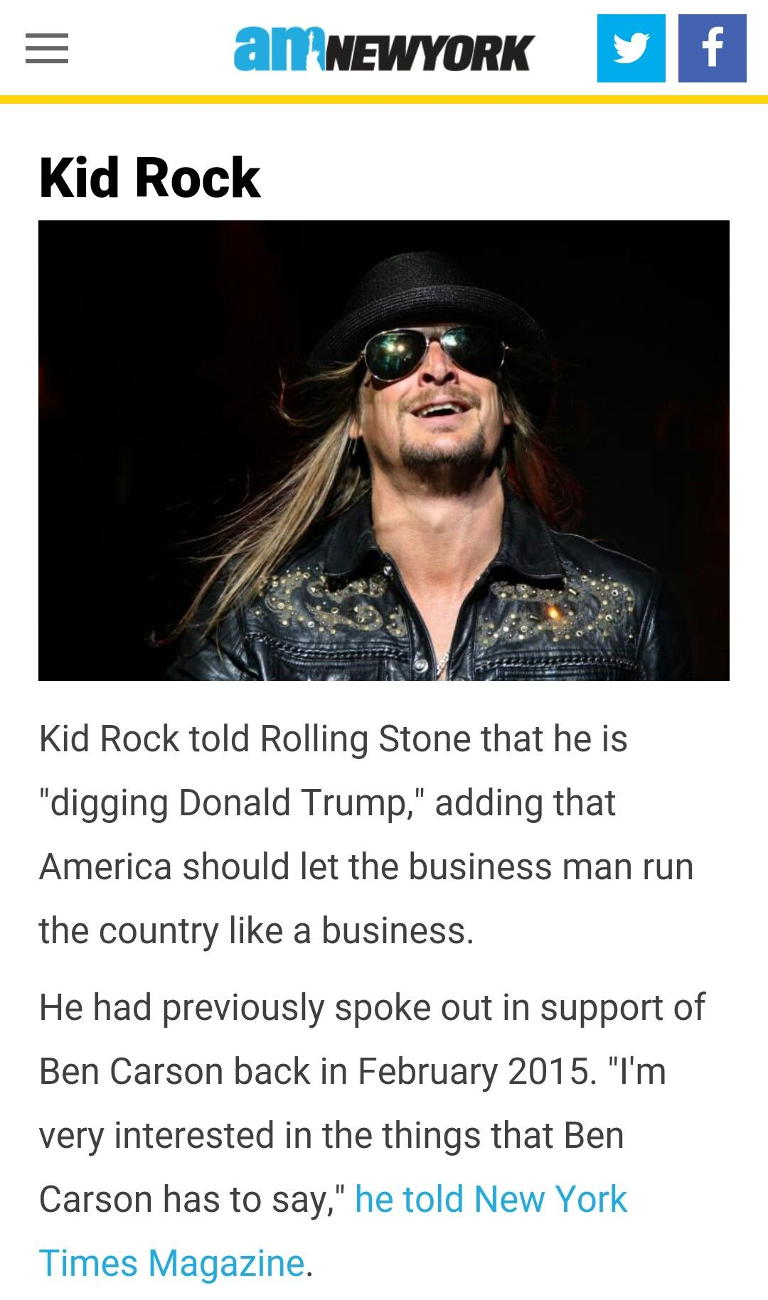 Kid Rock supports Trump.