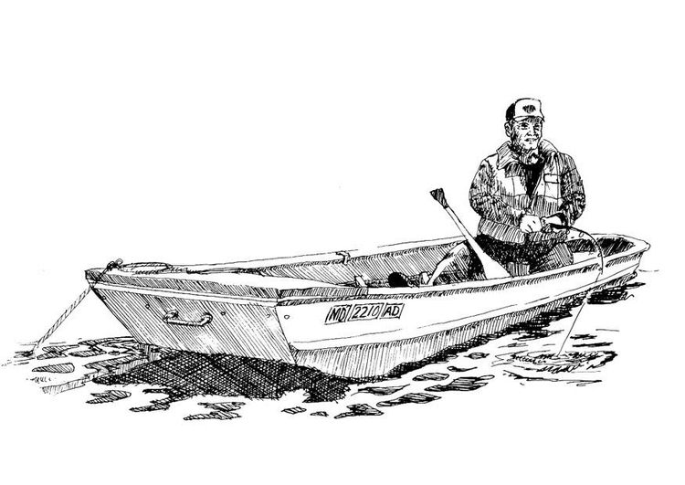 Coloring Pages For Adults Boats : Coloring page fisherman in boat adult colouring in printables