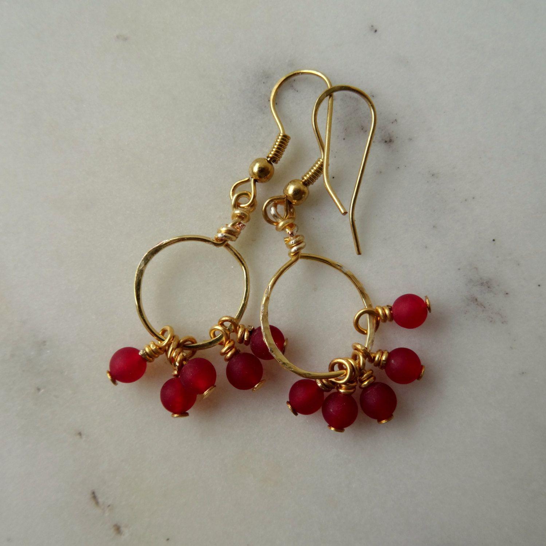 Red hoop earrings - hammered gold hoop - hoop earrings ...