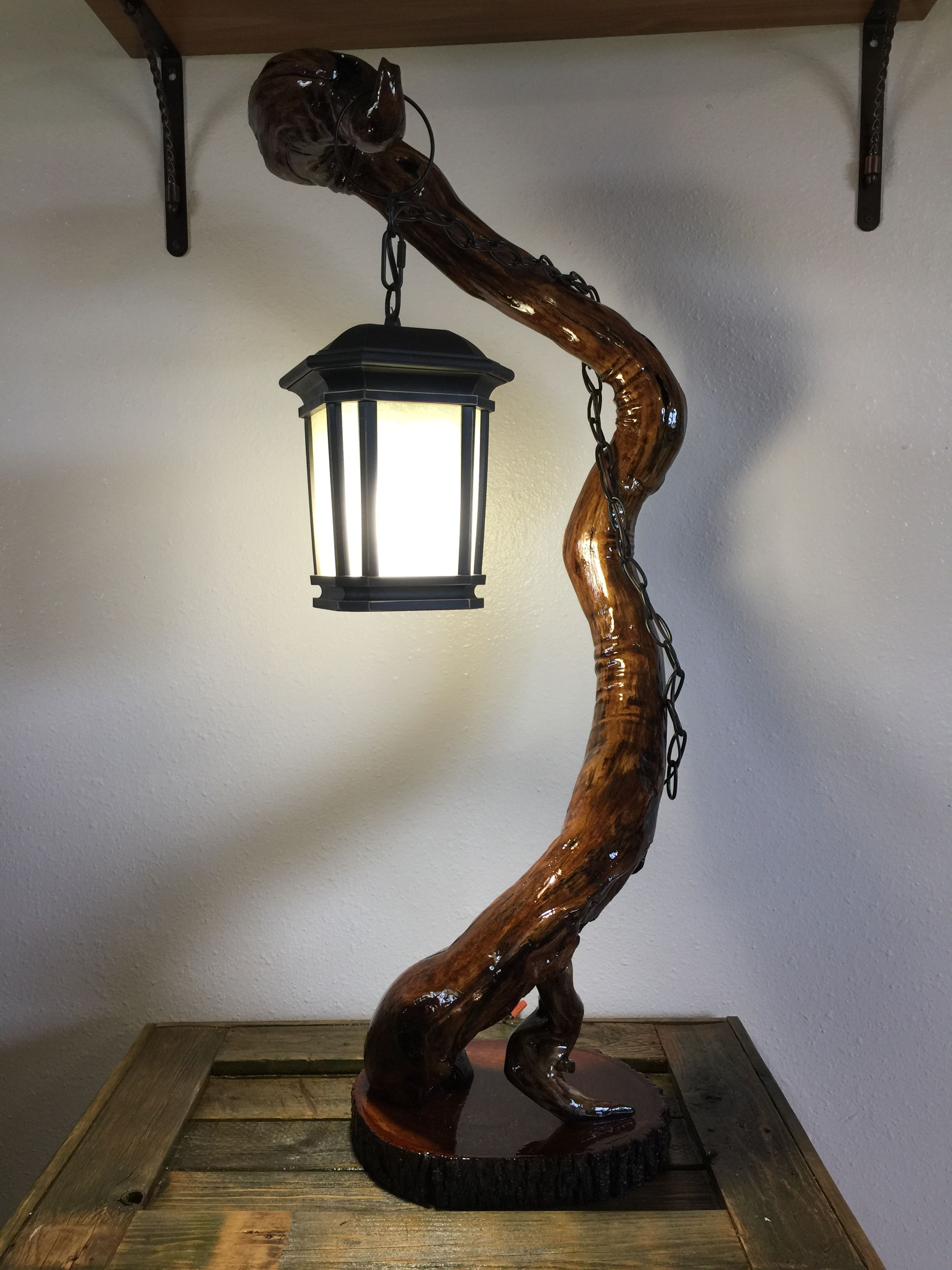 Lantern Style Lamp On Drift Wood By Hadencustomcrafts Com With Images Lamp Driftwood Lamp Wood Lamps