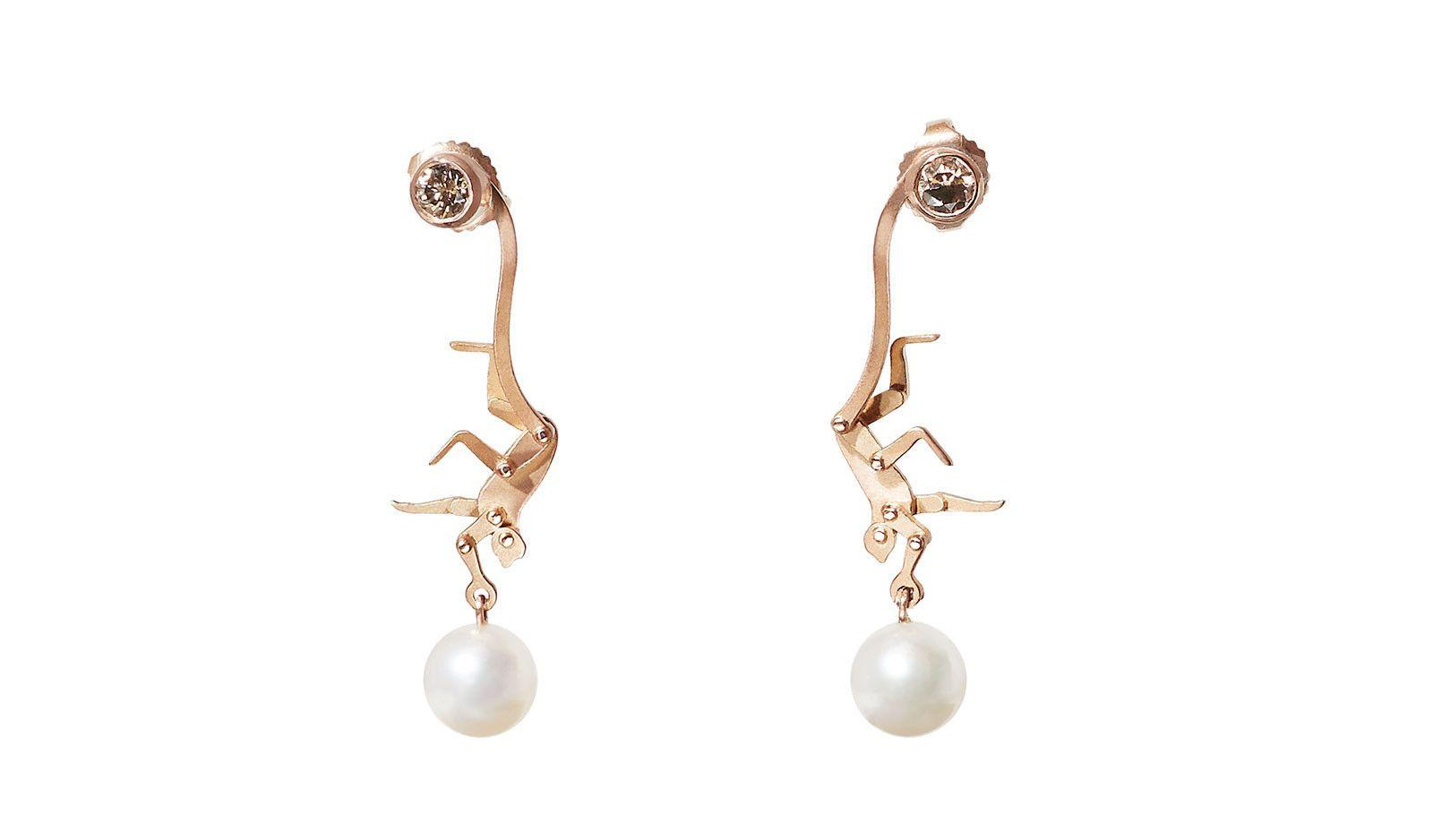 Diamond & pink-gold earrings Marc Alary Rhe1E1bD