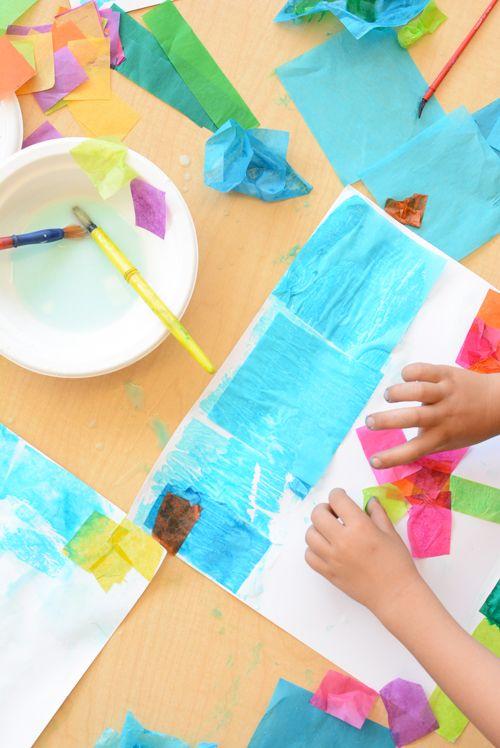 Simple tissue paper flower art for kids flower art tissue paper simple tissue paper flower art for kids meri cherry mightylinksfo