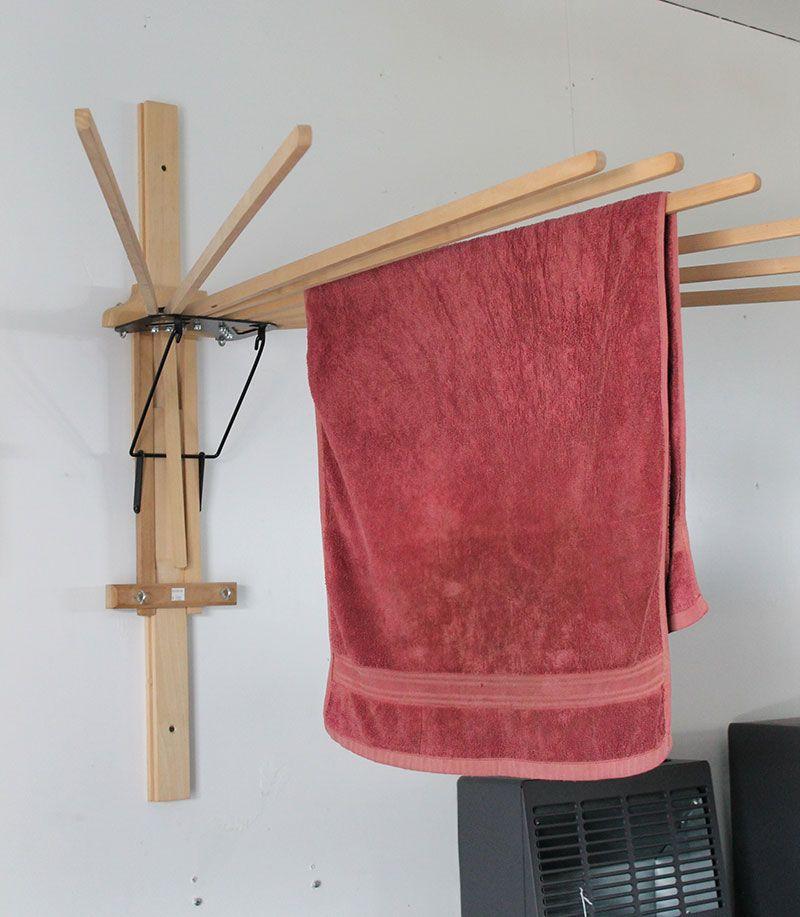 Folding Umbrella Wall Clothes Drying Rack Amish Made Usa