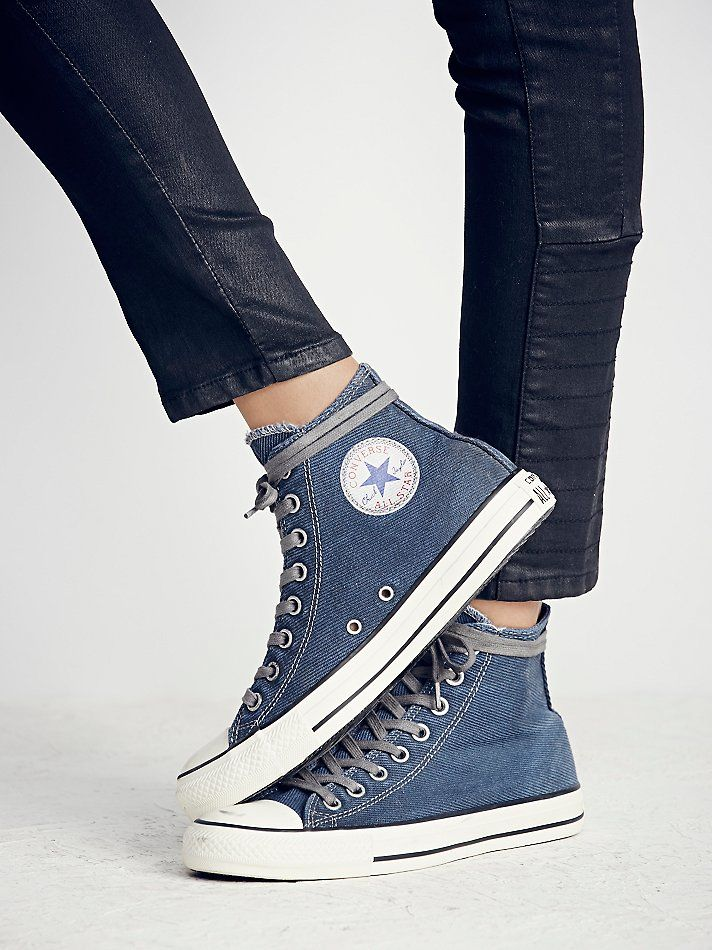 ad1238642b55 Free people Converse Womens Overdyed Wash High Top Chucks in Blue .