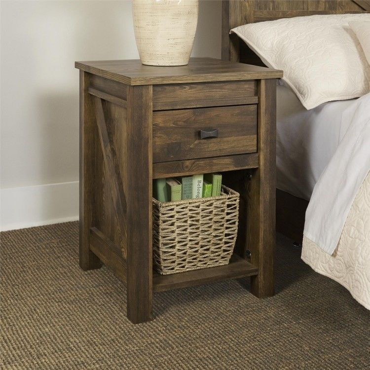 Bedside Table Night Stands For Bedrooms End With Storage Nightstand Rustic
