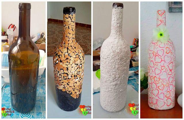 Diy botella decorada con cascara de huevo y la t cnica - Manualidades con botellas de cristal ...