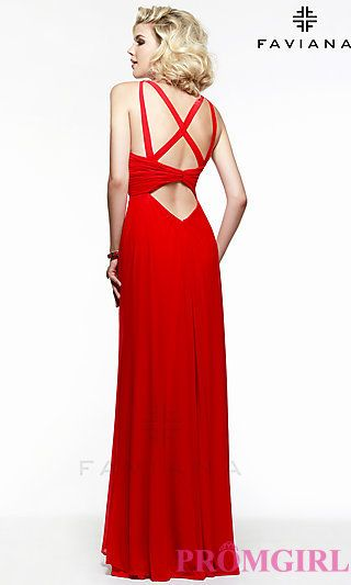 Long Open Back Formal Gown by Faviana at PromGirl.com